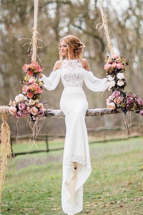 Elegant Lace Long-Sleeves Mermaid Chiffon Wedding Dress