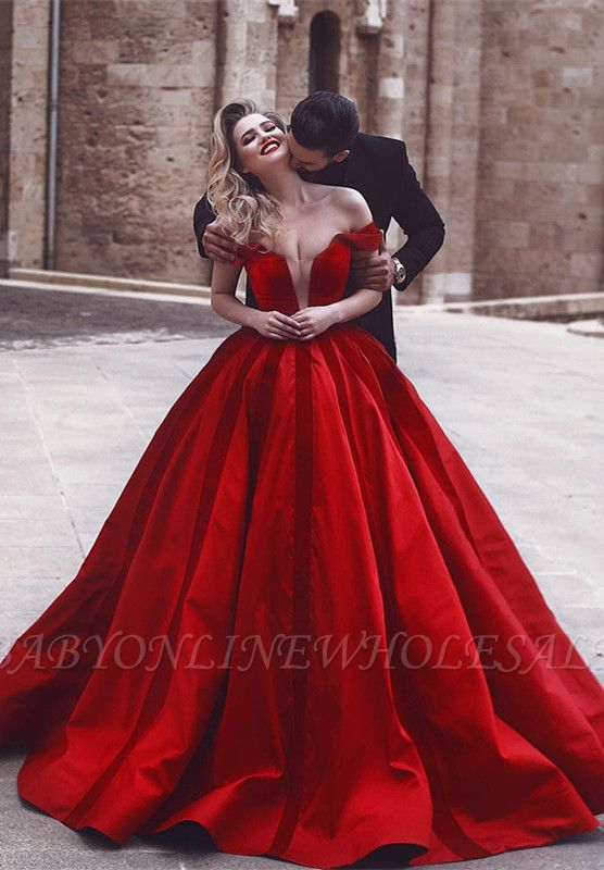 Glamorous Off-the-Shoulder Evening Dress | Red Long Prom Dress
