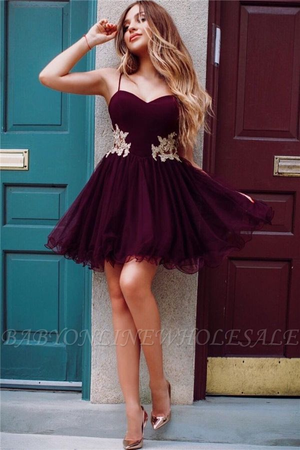 Spaghetti Straps Burgundy Homecoming Dresses Online | Gold Lace Appliques  Hoco Dresses