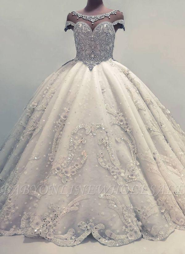 Роскошные бальные платья Свадебные платья | Блестящие кристаллы свадебные платья с цветами