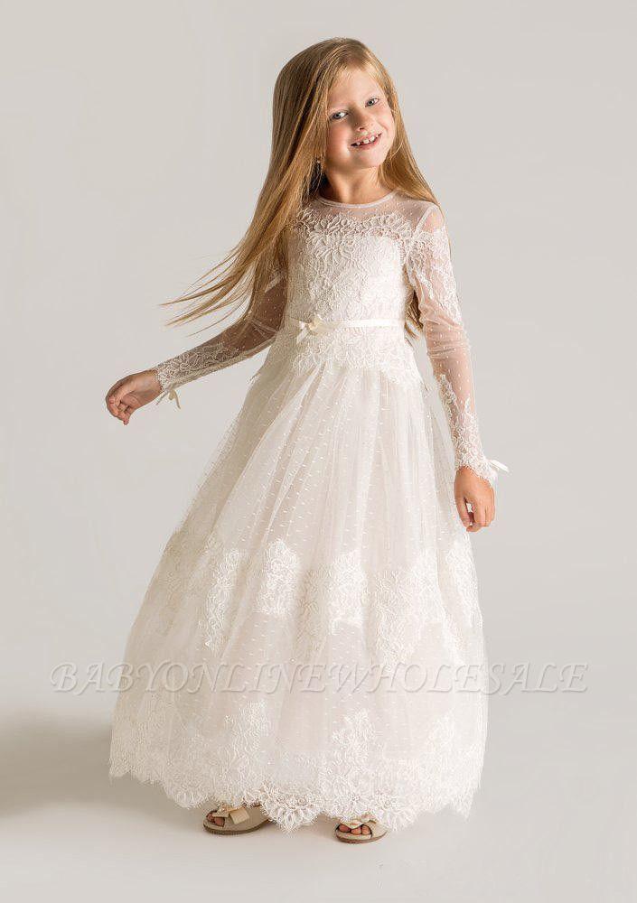 Moderne Tüll A-Linie Blumenmädchen Kleid | Langarm-Festzugkleider für kleine Mädchen