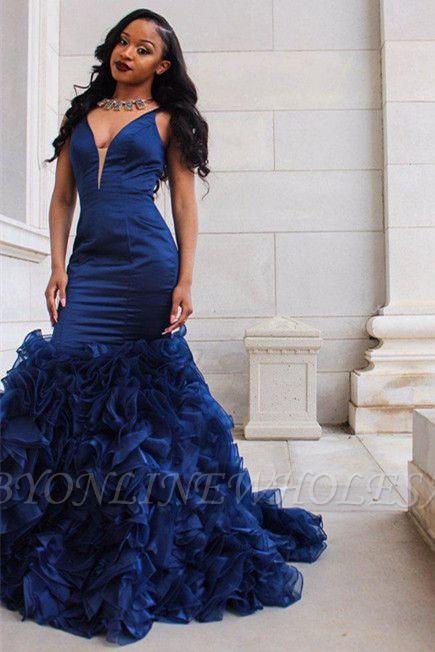 V-Ausschnitt Ballkleid | Rüschen Mermaid Abendkleid BA8435