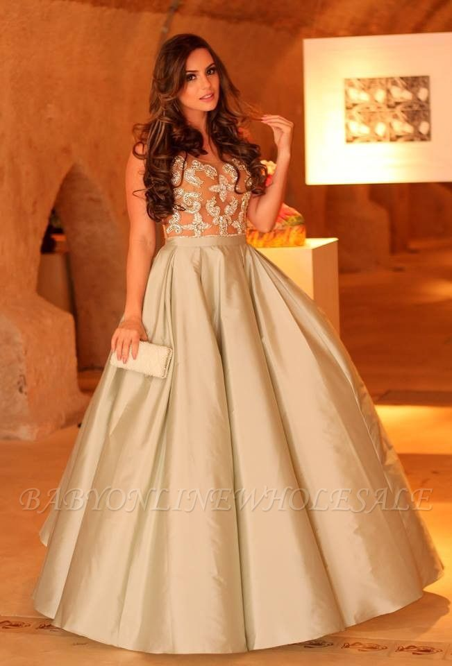 Elegant Lace Appliques A-line Straps Sleeveless Prom Dress | Plus Size Prom Dress