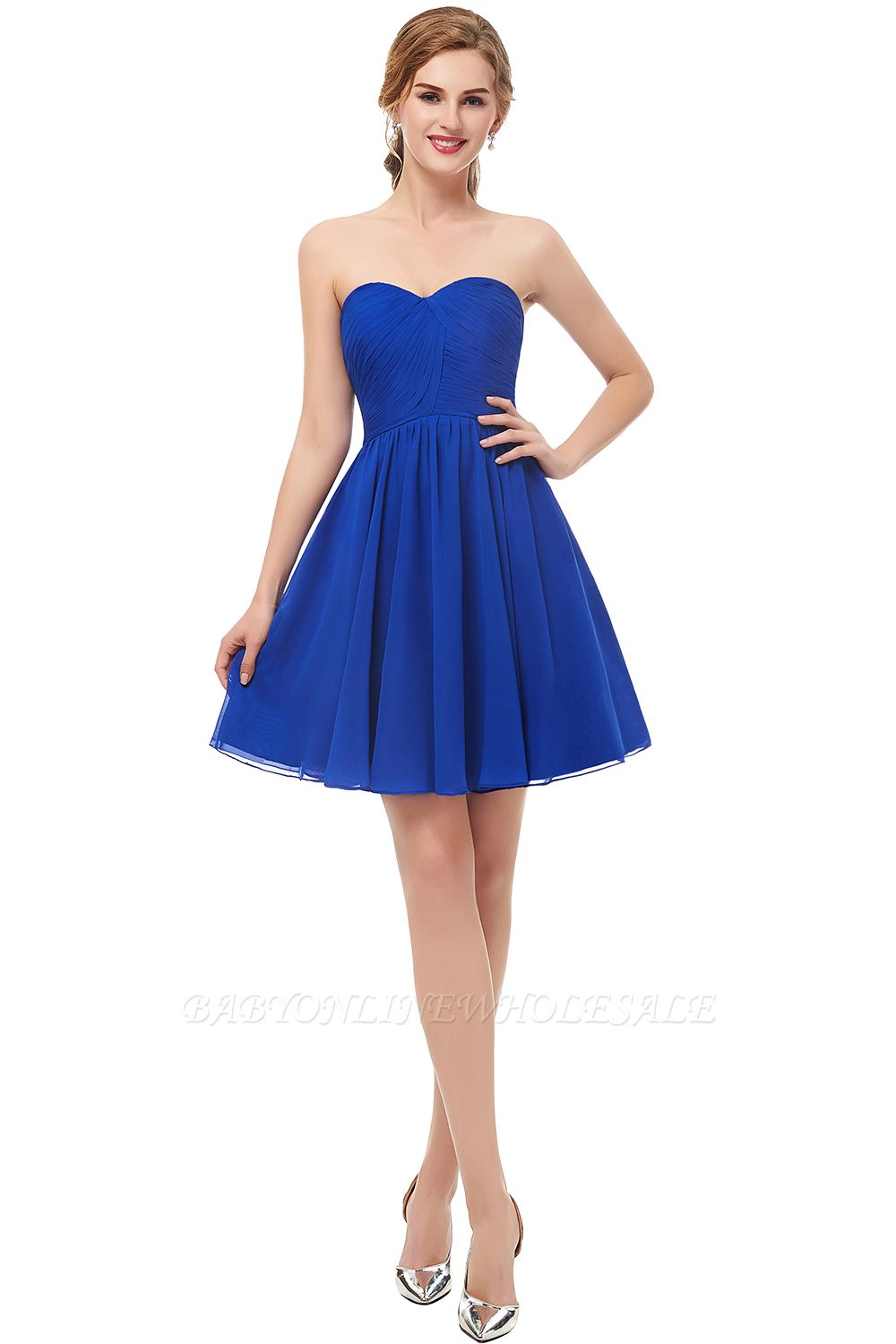 NETTIE | Aline Short Sweetheart Strapless Chiffon Blue Homecoming Dresses