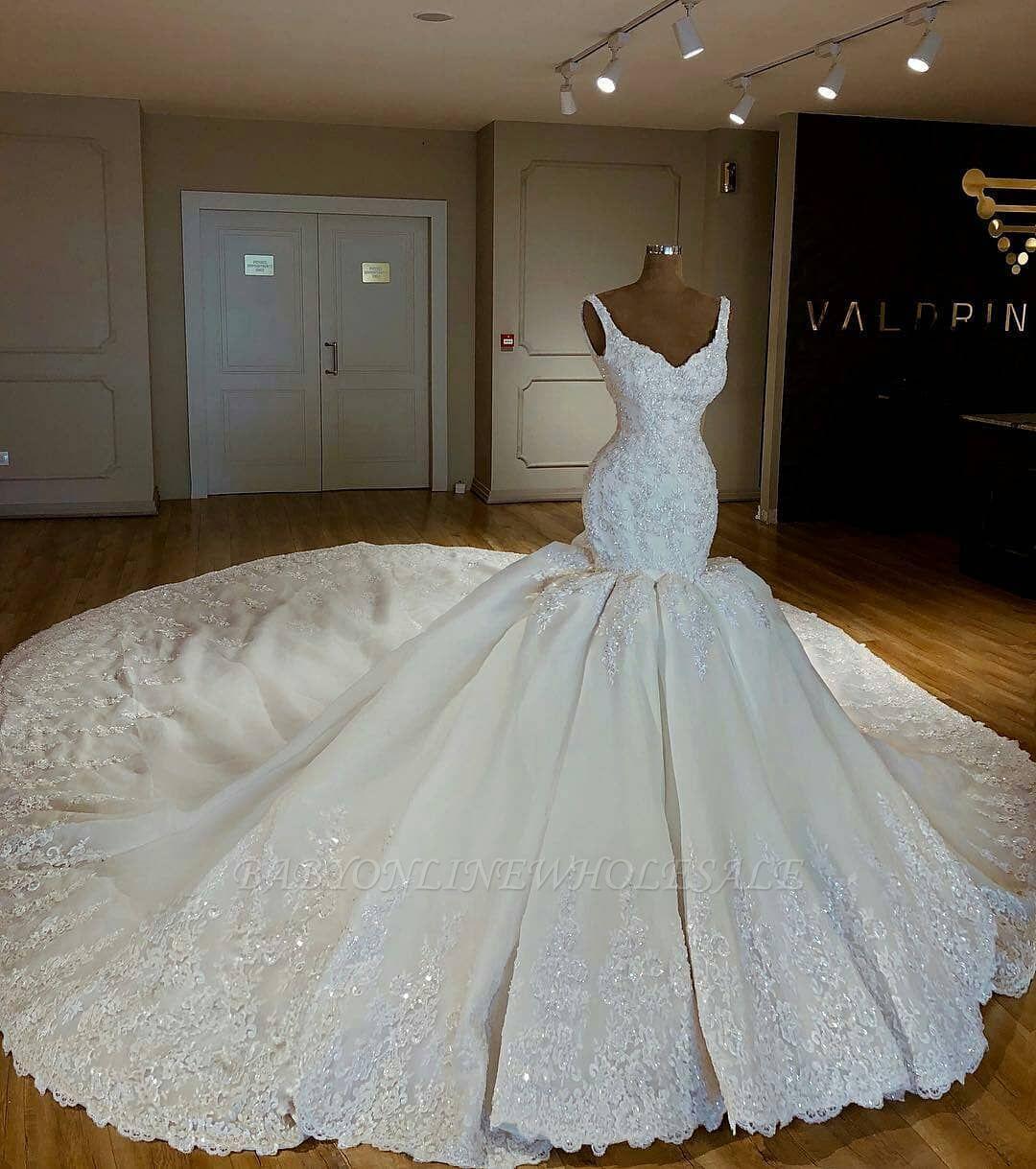 Shiny Mermaid Beading Lace Straps Applique Wedding Dresses