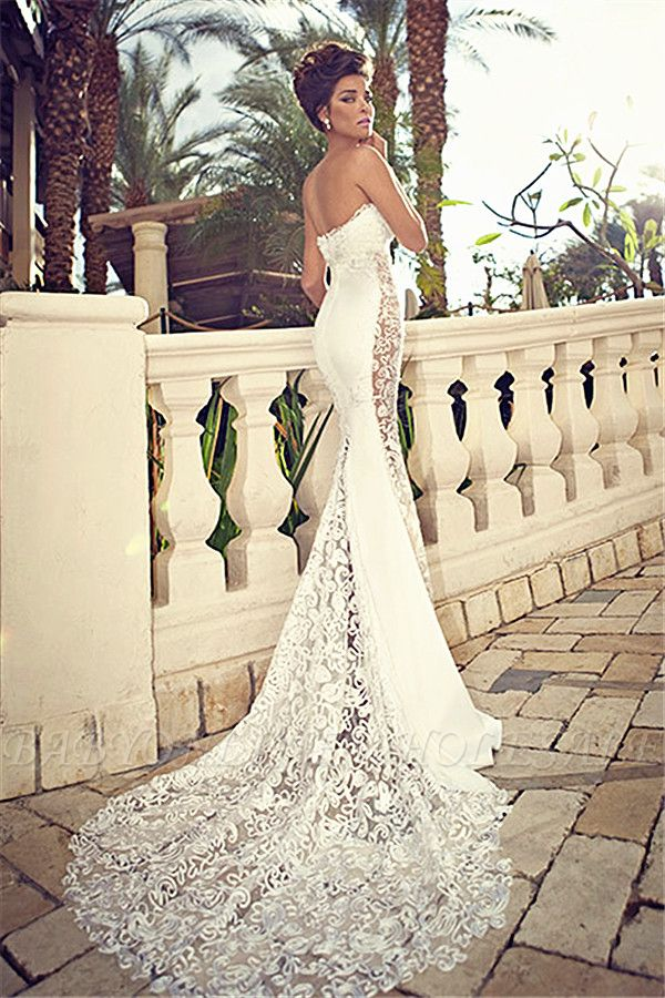 Sweetheart White Lace Wedding Dresses Mermaid Zipper Sleeveless Bridal Dresses