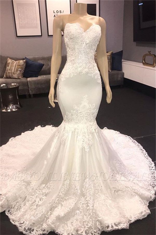 Sexy Strapless Lace Appliques Mermaid Wedding Bridal Gowns 2020
