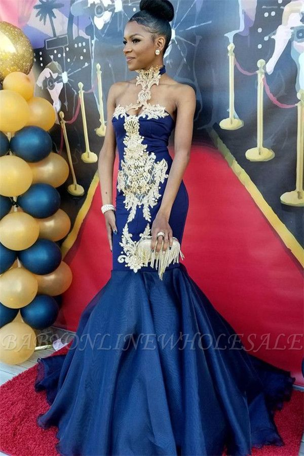 Robes de bal sexy sirène bleu marine | Robes de soirée appliques col haut SK0154