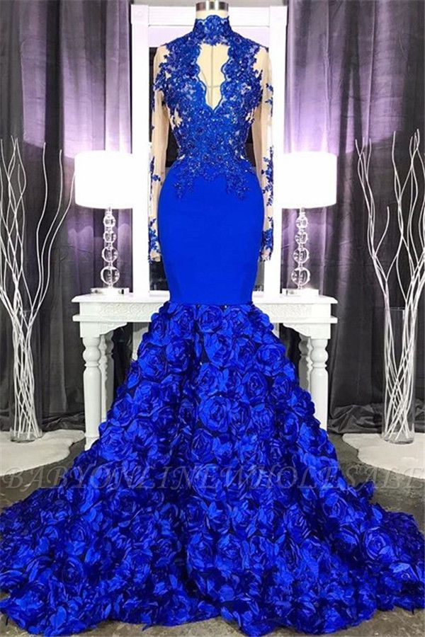 De manga larga de encaje apliques vestido de fiesta barato en línea 2021 | Sirena vestido de fiesta floral azul real con ojo de cerradura