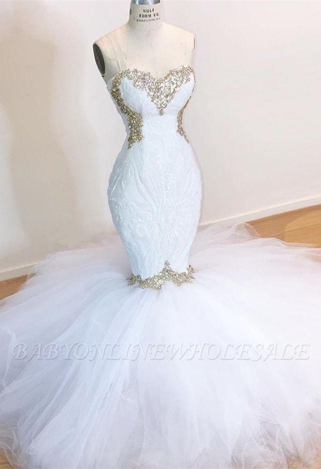 Weiße Spitze Meerjungfrau Schatz Einfache Brautkleider Zum Verkauf