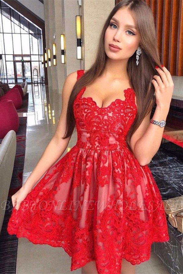 Red Lace Straps Homecoming Dresses | Sexy Sleeveless Short Hoco Dresses Online