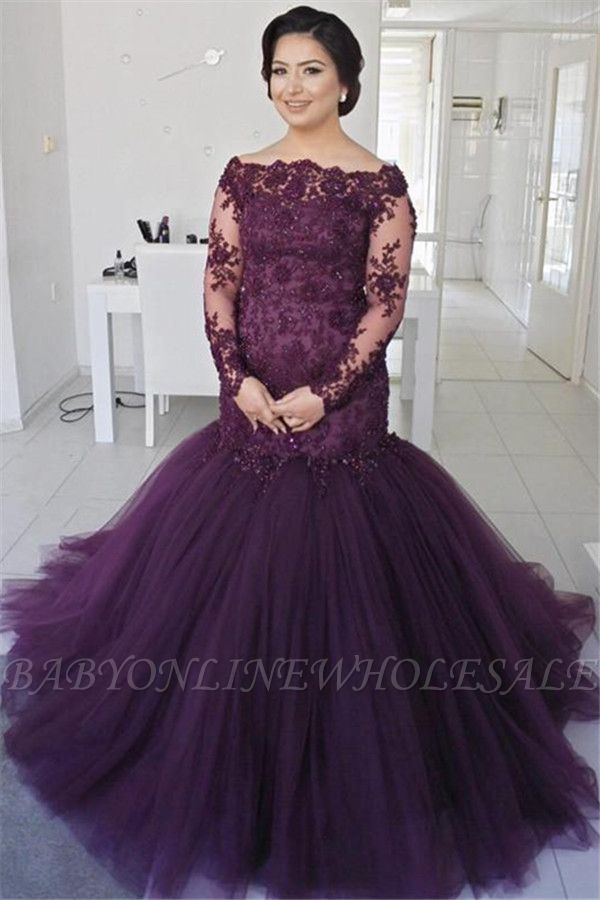 See Through Lace Fluffy Tulle Sexy Evening Gown | Long Sleeve Formal Evening Dresses