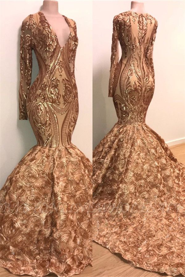 Sexy V-neck Elegant Long Sleeve Gold Sparkle Appliques Prom Dress | Fit and Flare Flowers Real Prom Dress BC1373