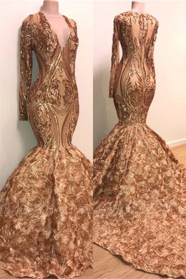 Vestido de fiesta con cuello en V y manga larga Sparkle Gold de apliques dorados | Sirena flores vestido de fiesta real en maniquíes BC1373