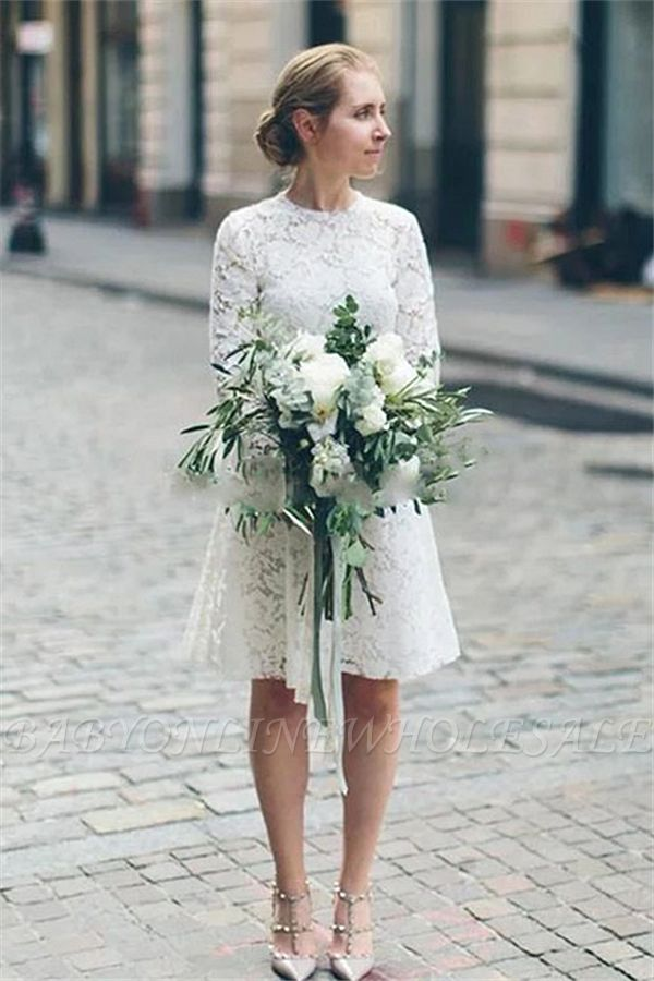 Casual Long sleeves Lace Summer Short Summer Wedding Dress Online