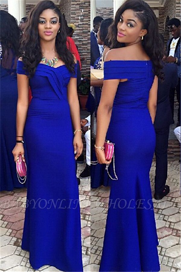 Royal Blue Wedding Guest Dress Sheath Off Shoulder 2021 Prom Dress BA3120