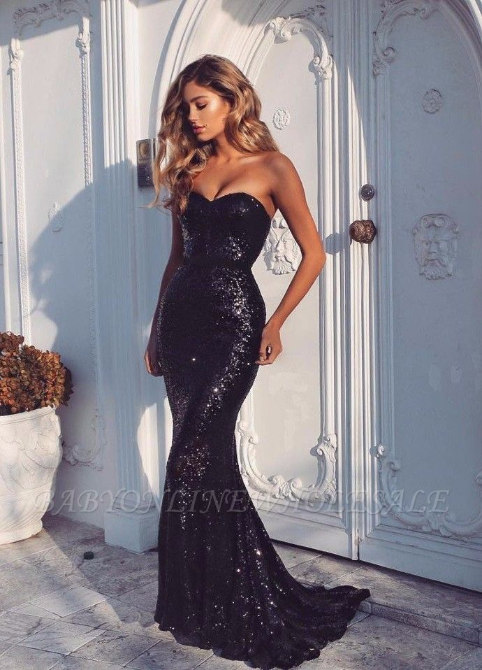 Sexy Sweetheart Mermaid Sequins Formal Evening Gowns