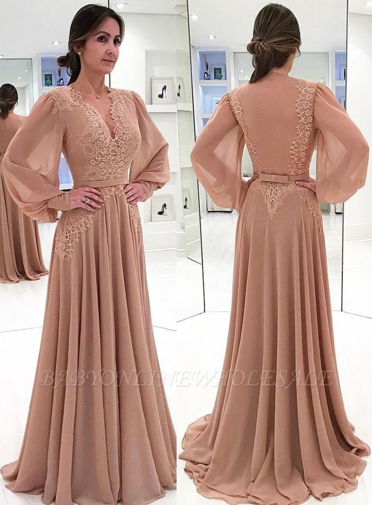 Elegant V-neck Long Sleeve Prom Dresses Onine | Chiffon Lace Bow Sexy Evening Gown