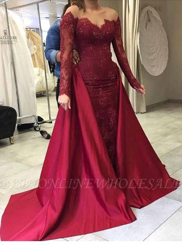 Glamorous Long Sleeve Burgundy 2108 Evening Dress Lace Mermaid With Ruffles
