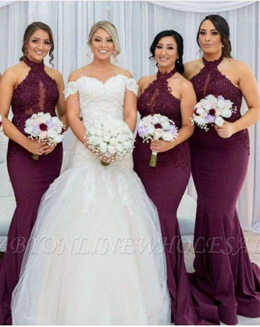 Maroon Холтер Аппликации Платья для подружек невесты   Русалка без рукавов свадебное платье