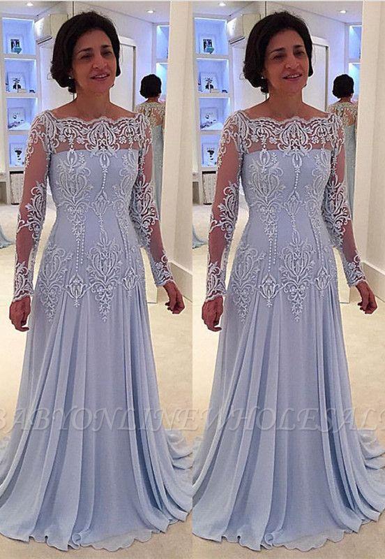 Elegante vestido de manga larga con encaje de manga larga para madre-novia