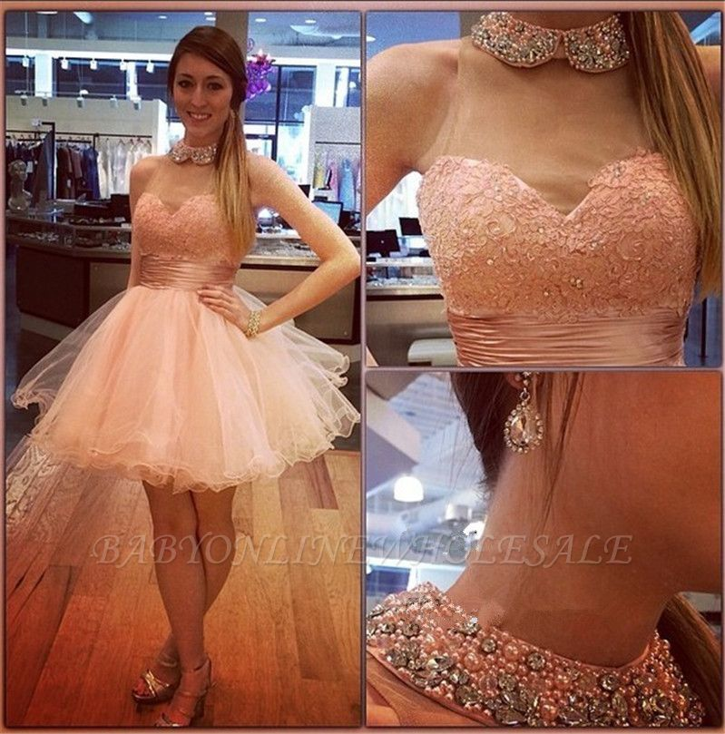 Bling Bling High-Neck Tulle Homecoming Dress Lace With Crystals