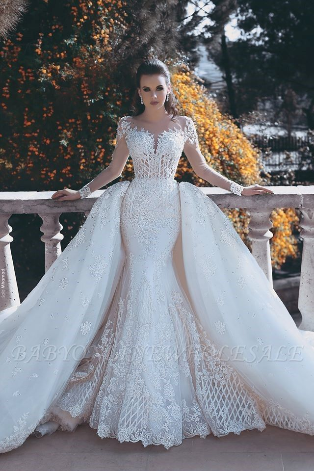 Vintage Mermaid Overskirts Long Lace Wedding Dresses