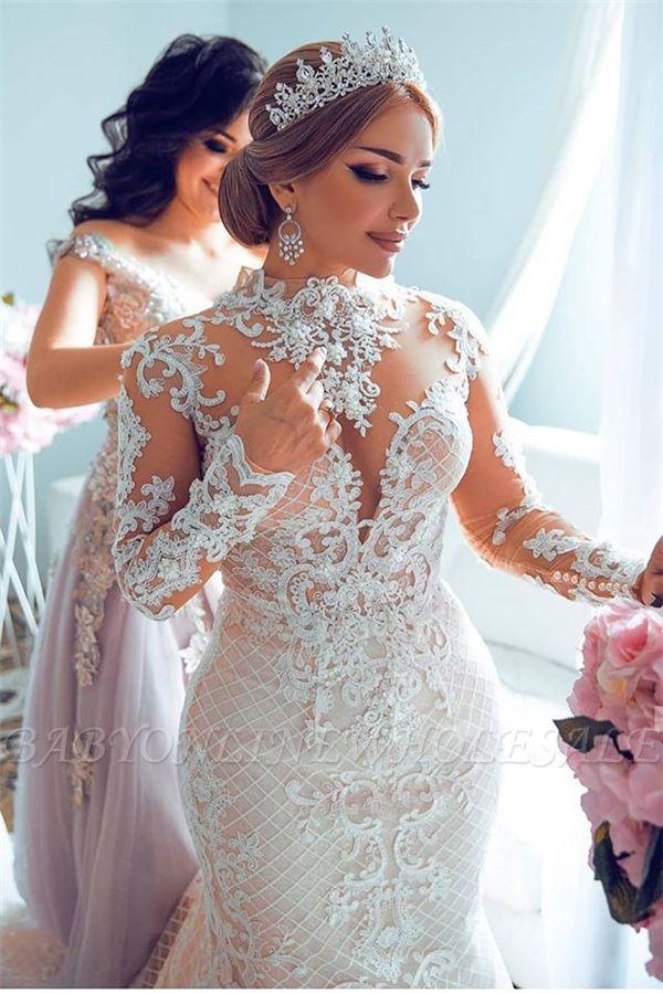 Luxury Sweetheart Lace Tulle Mermaid Spring Wedding Dress