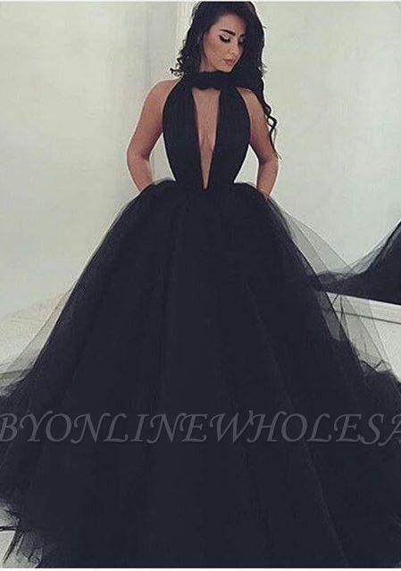 Tolles schwarzes V-Ausschnitt Tüll Ballkleid Abendkleid