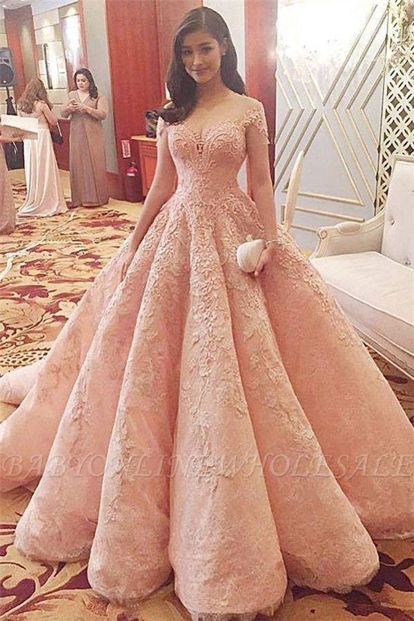 Romantisches rosa Schatz-Tüll-Ballkleid-Brautkleid mit Spitzenapplikationen