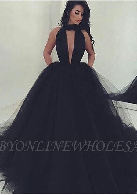 Amazing Black V-Neck Tulle Ball-Gown Prom Dress