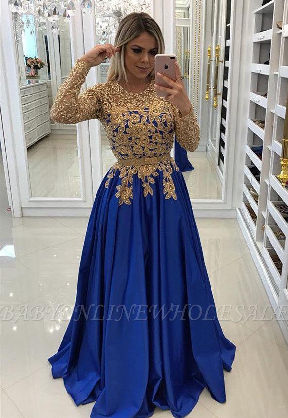 Modern Royal Blue & Gold Spitze Abendkleid | Langarm-Party-Kleid