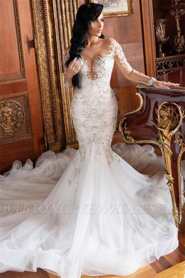 Langarm V-Ausschnitt Mermaid Court Zug Sommer Hochzeitskleid