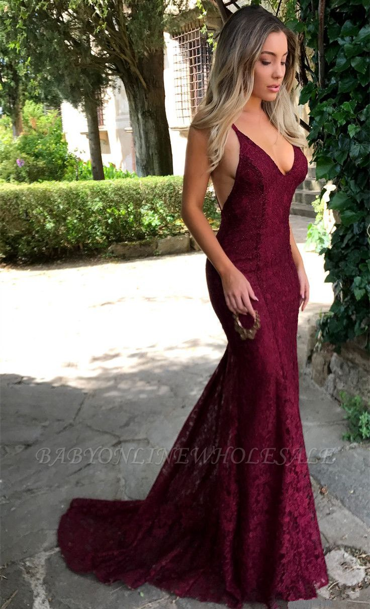 Sexy Open Back Burgundy Lace Formal Evening Dresses Cheap V-neck Backless Mermaid Prom Dress