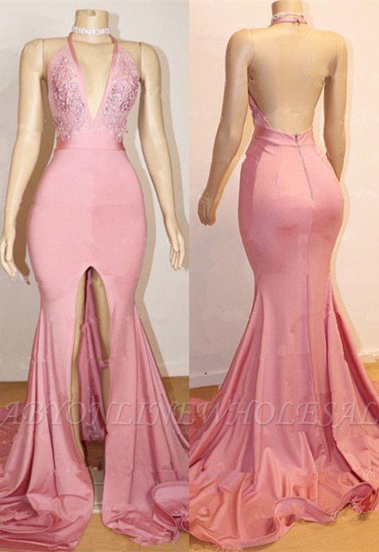 أنيقة حفلة موسيقية اللباس الوردي | عارية الذراعين الرباط مساء بثوب مع شق BA9087