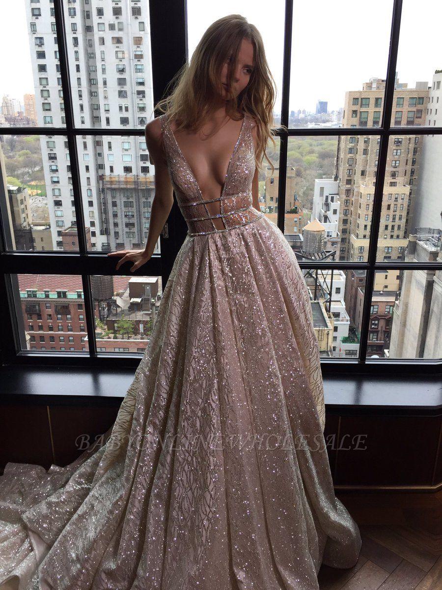 Sexy V-Neck Sleeveless Prom Dress Long Sequins BA3399