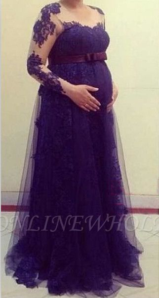 Nww Arrival Tulle Long Sleeve Maternity Dress Empire Lace ...