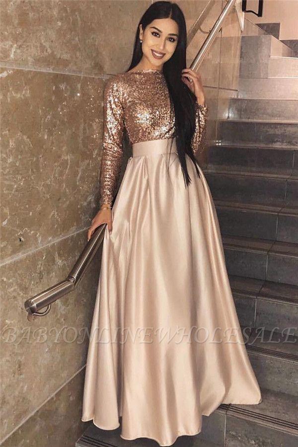 Robe de soirée paillettes à manches longues 2021 pas cher | Une ligne élégante robe de soirée formelle en ligne