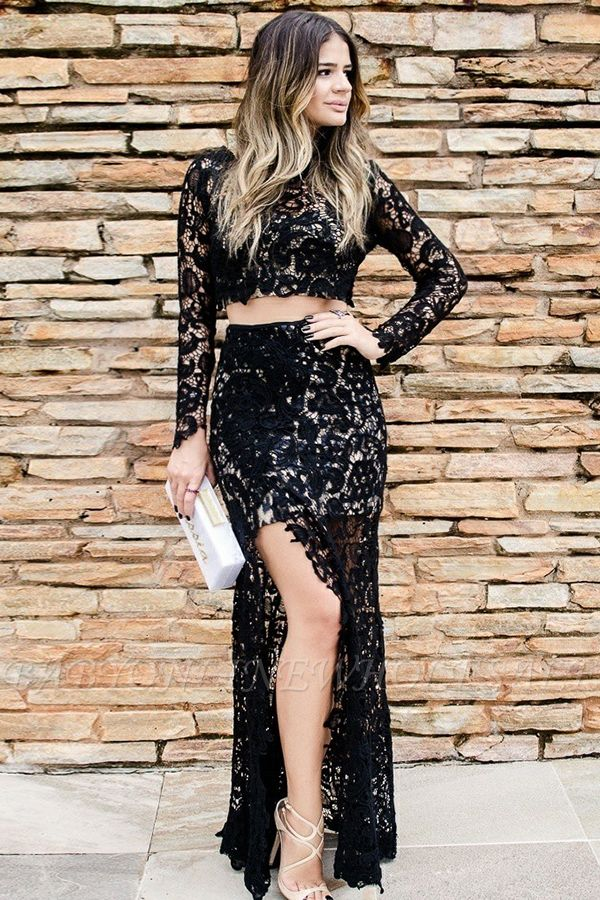 Two-Pieces Long-Sleeves Slit Lace Evening Dress