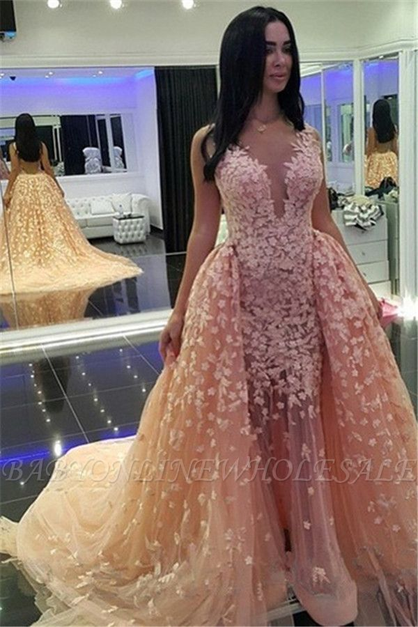 Sexy Pink Mermaid Puffy Formal Dresses |Detachable Train Dubai Arabic Evening Dresses