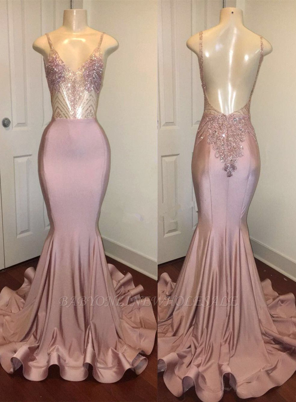 Newest Pink Beads Spaghetti Strap Prom Dress | Mermaid Prom Dress