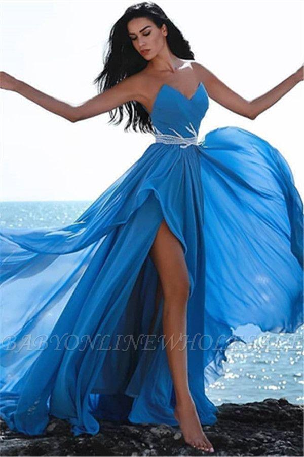 فساتين السهرة الزرقاء الحبيب بأسعار معقولة   بلورات الجانب الشق فستان حفلة موسيقية رخيصة