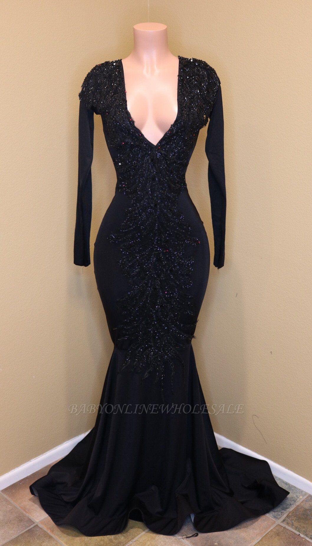Elegante V-Ausschnitt mit langen Ärmeln Applikationen Pailletten Mermaid Zipper Prom Dresses