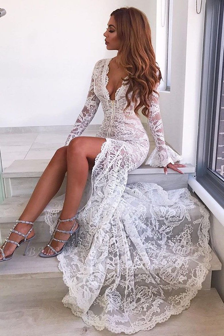 Sexy Long Sleeve V-Neck Prom Dress | Lace Evening Party Dress With Slit