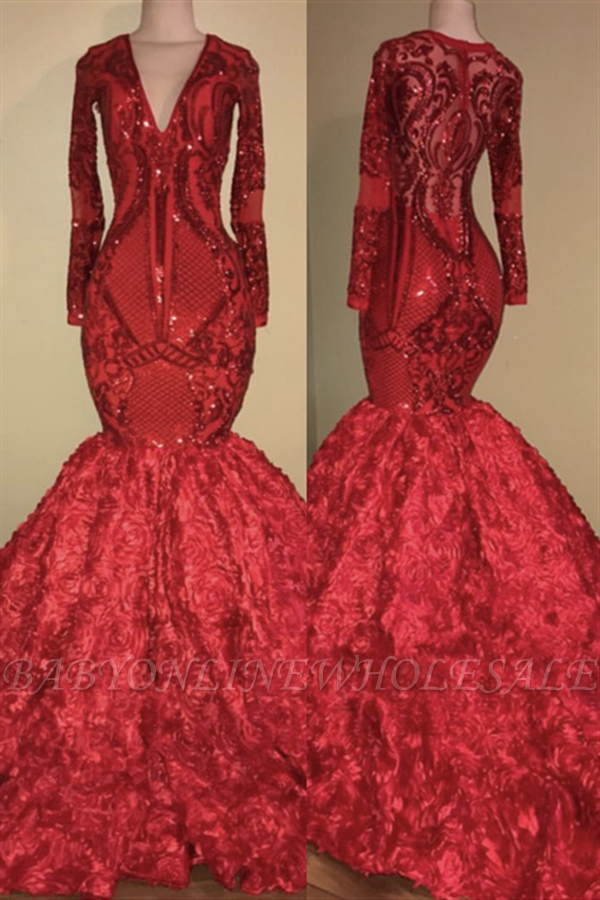 V-образным вырезом Sparkle Appliques Платье для выпускного Mermaid с цветочным принтом | Роскошное красное платье с длинным рукавом для выпускного вечера 2019