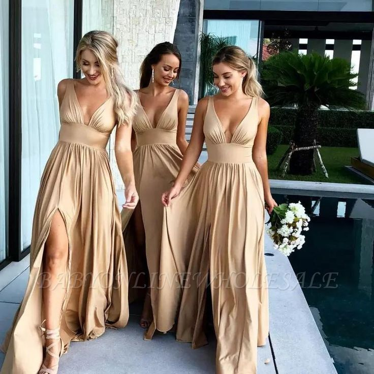 Elegant V-Neck Sleeveless Bridesmaid Dress | 2019 Bridesmaid Dress With Slit