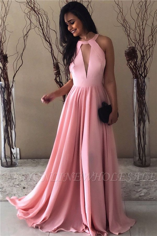 Pink Chiffon Formal Evening Dresses  | Open Back Sleeveless  Sexy Evening Gown