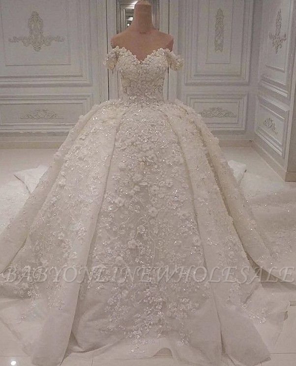 Charming Off-The-Shoulder Lace Beaded Ball Gown Wedding Dress BC1308