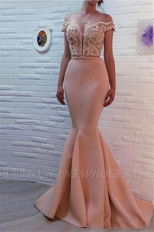 Sirena fuera del hombro sexy vestidos de fiesta con cuentas | Vestidos de noche baratos largos en línea