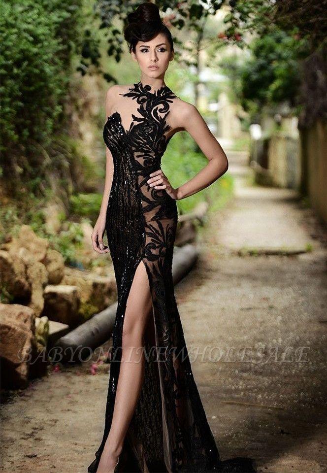 Robe de bal noire sexy | Robe de soirée sirène avec fente